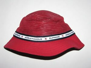 SUPREME Mesh Crown Crusher RED Bucket Hat Cap Small   Medium NEW! S ... fc9384a94460