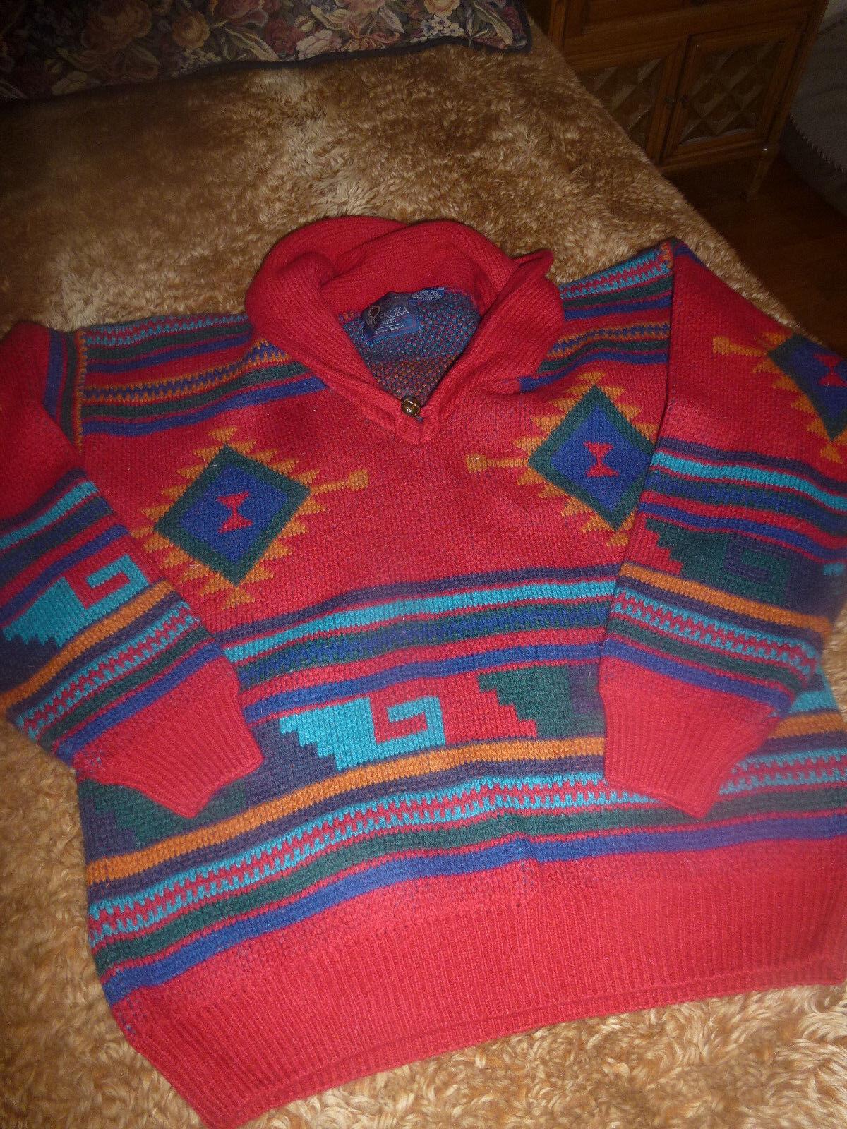 Men's MUSKOKA-LAKES 100 % Shetland Wool Sweater Southwestern Design Size L