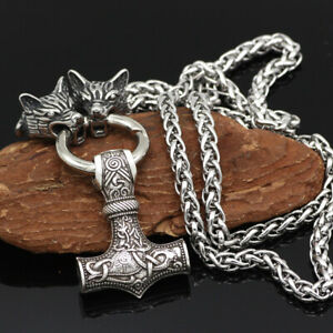 Men-039-s-Vintage-Silver-Norse-Viking-Wolf-amp-Thor-Hammer-Mjolnir-Pendant-Necklace