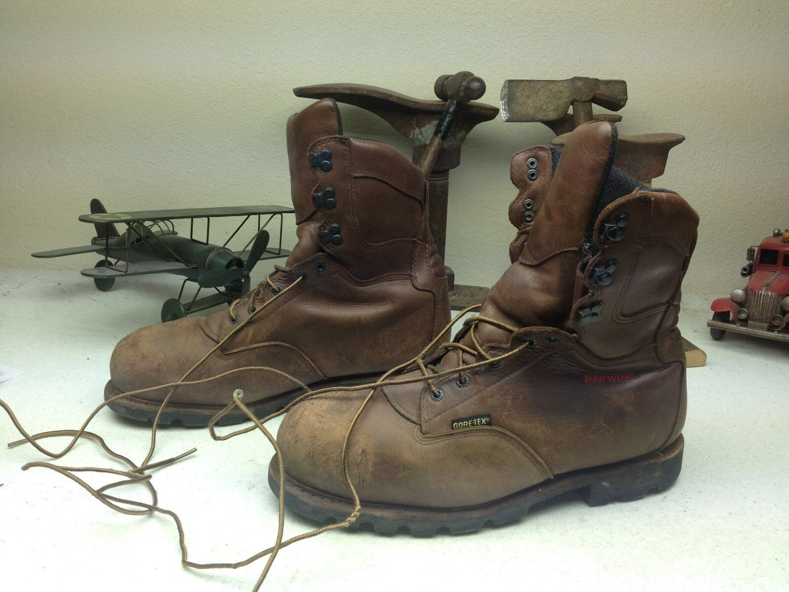 DISTRESSED STEEL LACE UP RED WING STEEL DISTRESSED TOE WORK CHORE PACKER TRUCKER BOOTS 12 EE 0af3e5