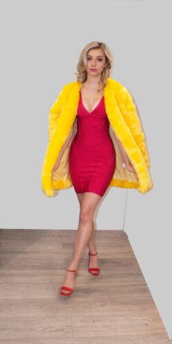da donna senza sintetica giallo di pelliccia colletto mezza Cappotto antracite fqS7S8