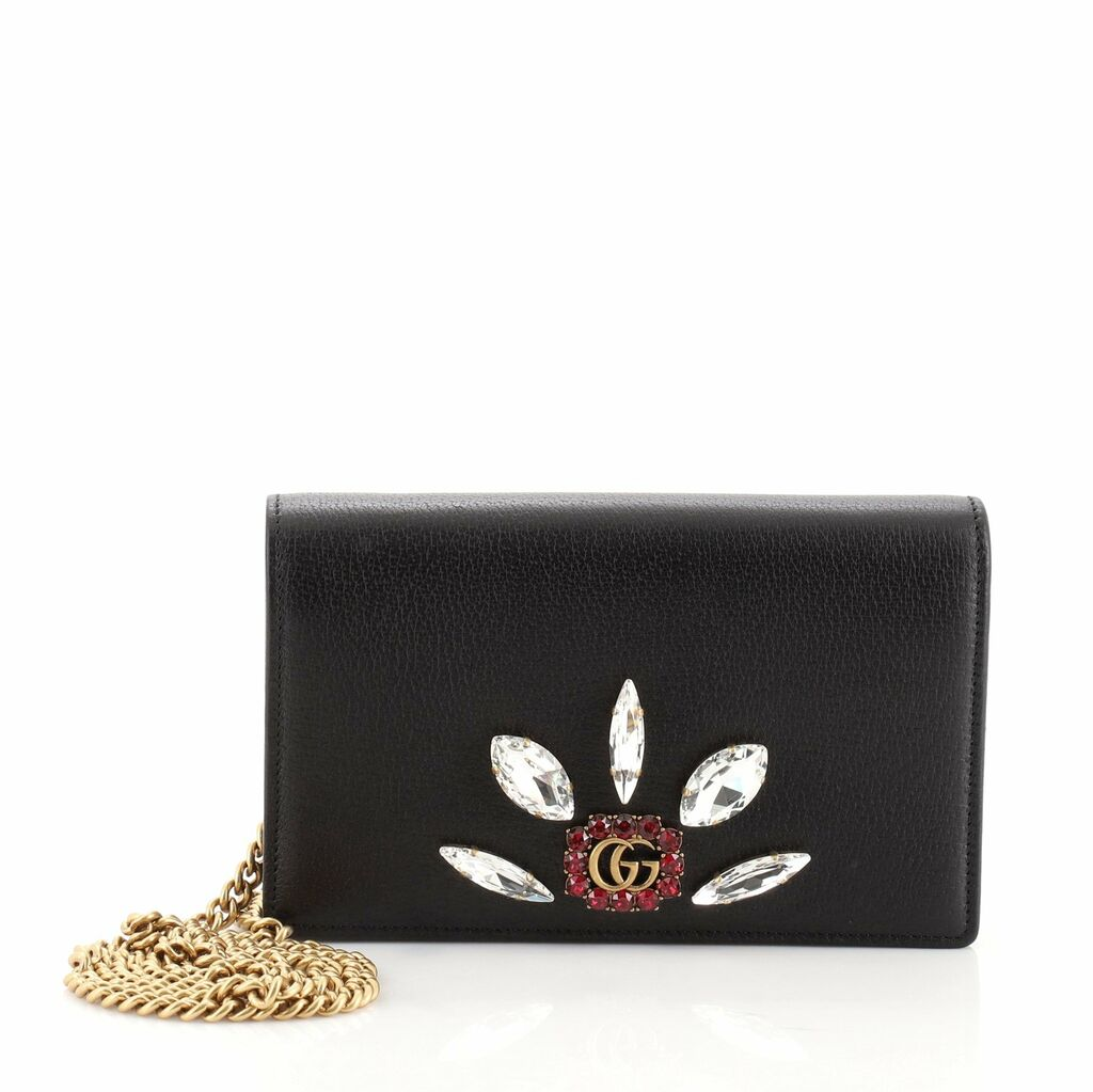 Gucci GG Marmont Chain Wallet Embellished Leather Mini  | eBay