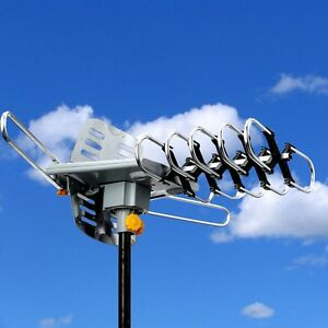 HDTV-Outdoor-Amplified-Antenna-HD-TV-36dB-Rotate-Remote-360-UHF-VHF-FM-150-Mile