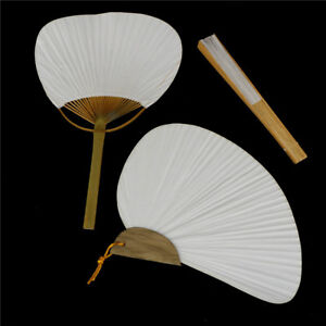 1pc White Folding Elegant Paper Hand Fan Wedding Party Favors HU