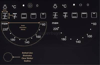 22pc 60-220 Degree Oven Hob Plate Temp Symbols Adhesive Knob Dial Sticker Label