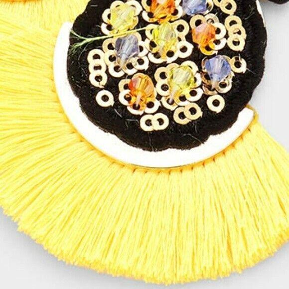Yellow Colorful Beaded Pineapple Fun Fashion Stylish Tr