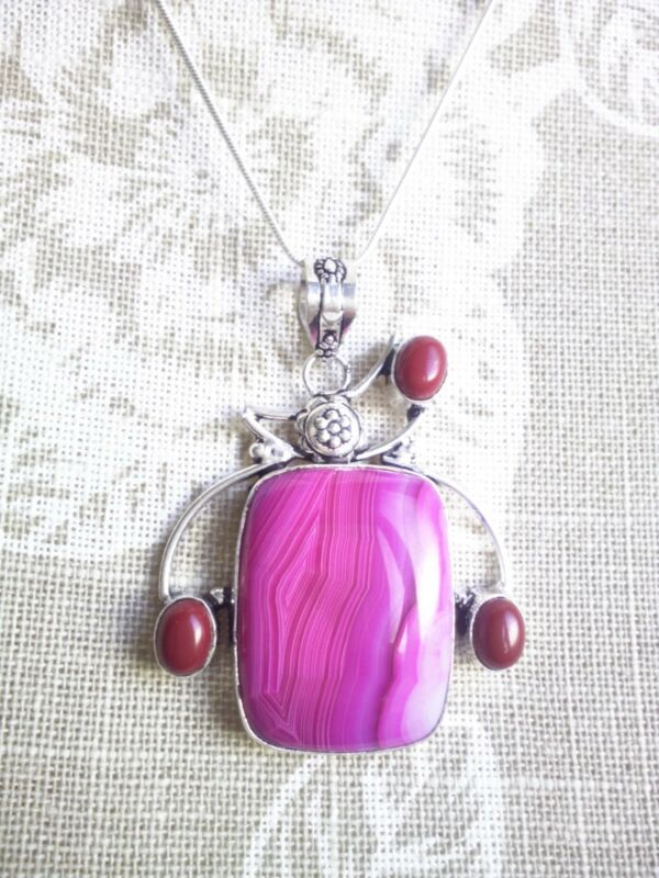 Beautiful Design Pink Agate Pendant, Chain Included. Uk Seller