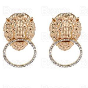 STATEMENT austrian crystal EARRINGS retro LIONS HEAD HOOPS large GOLD FASHION UK