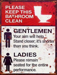 Keep Bathroom Clean Rules Art Wall Poster Tin Signs Retro Metal