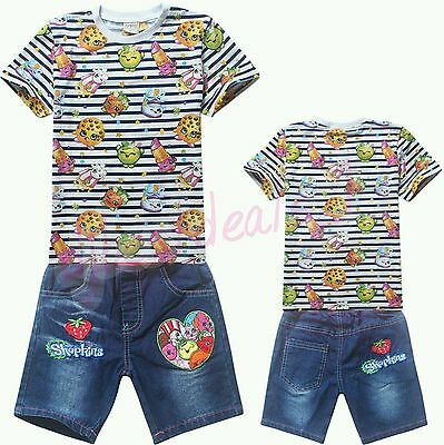 Kids Girls Outfits /& Sets Casual Wear Shopkins Bermuda Shorts /& T-Shirts Set