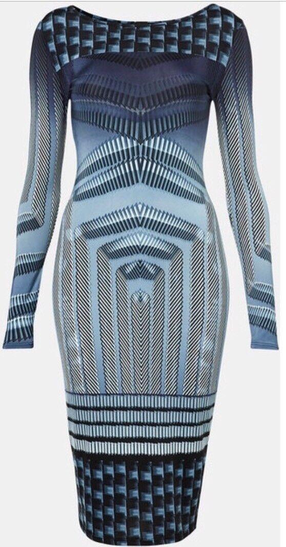 Topshop Blu ottico geometrico Vintage Azteco Silky Silky Silky Celeb Bodycon Midi Dress 10 6 38 d708d7