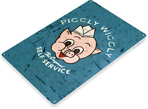 TIN-SIGN-B795-Piggly-Wiggly-Self-Service-Auto-Garage-Mechanic-Rustic-Metal