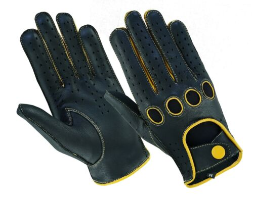Men/'s Classic Genuine Real Soft Leather Chauffeur Driving Gloves Reverse Stitch