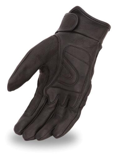 Wrist Strap FI142GEL Men/'s Leather Gel Palm Motorcycle Glove Flex Knuckle
