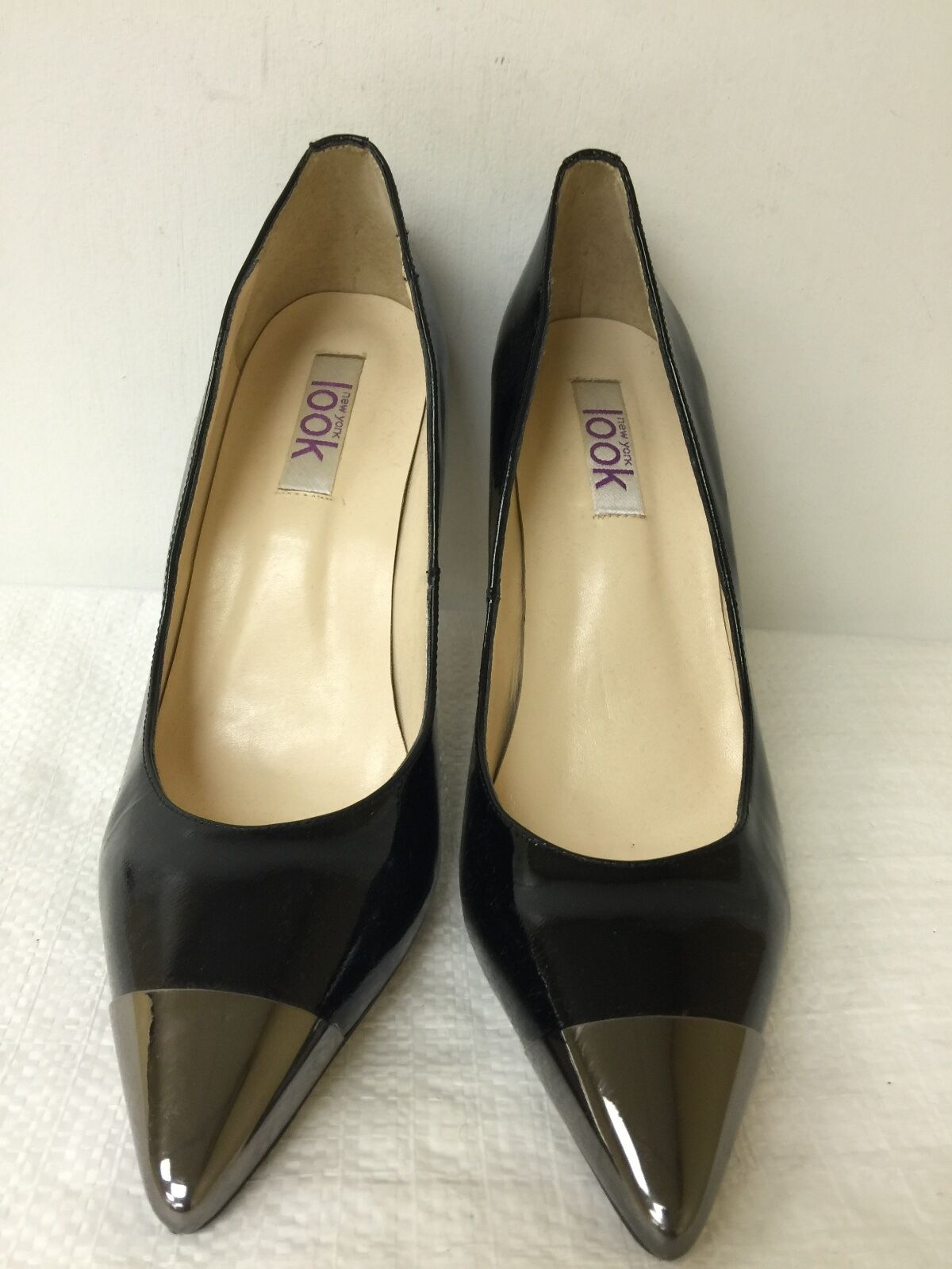 New York Look damen schwarz Silber pump schuhe schuhe schuhe leather Größe 40.5 M pre-owned c36b38
