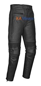 Leather Motorbike Trouser Motorcycle Biker Cowhide Jeans Pants Armoured Mens