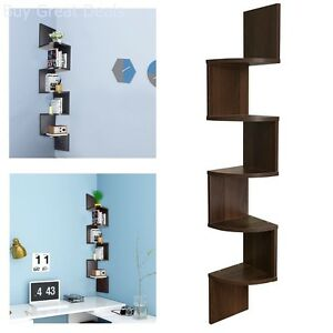 Admirable Details About Corner Shelves Wall Mounted 5 Tier Zig Zag Display Large Storage Floating Shelf Interior Design Ideas Jittwwsoteloinfo