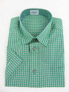 Ex-Marks-and-Spencer-Mens-Shirt-Office-Work-Regular-Fit-Short-Sleeve-Green-Check
