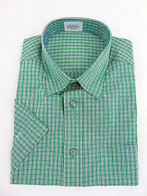 Ex Marks and Spencer Mens Shirt Office Work Regular Fit Short Sleeve Green Check