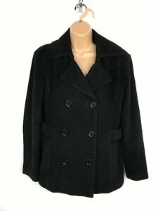 WOMENS-HYDRAULIC-BLACK-DOUBLE-BREASTED-BUTTON-UP-SHORT-WINTER-COAT-JACKET-MEDIUM