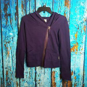 95e1b2d65496 Converse Women s Purple Zip Up Buttons Hoodie Jacket Size XS ...