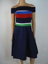 Ralph Lauren Red White Blue Green Striped Off Shoulder Dress S 4 6 NEW T346