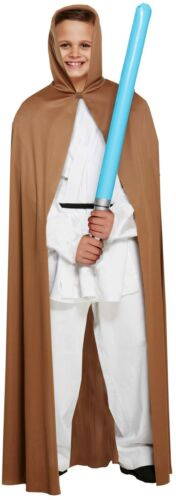 Boys Jedi Brown Cape With Hood Fancy Dress Childs Dressing Up Costume Outfit
