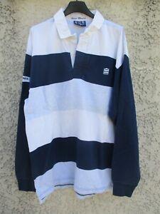 Polo-SERGE-BLANCO-QUINZE-15-rugby-bleu-marine-blanc-manches-longues-XL