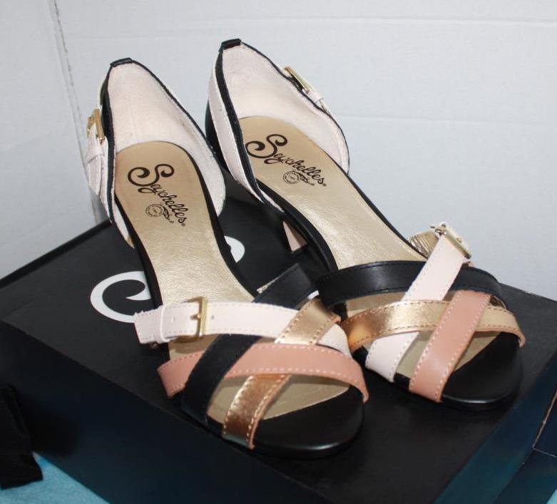 New Seychelles Women's Modest Open-Toe Pump Multi Leather Strapp Sandal Heels