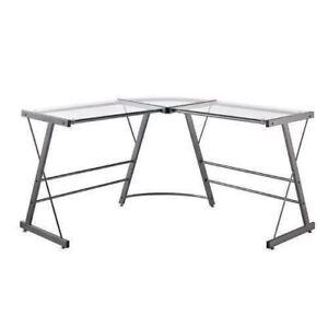 Grey Gray Metal Glass L Shaped Corner Work Desk Office Laptop Computer Table