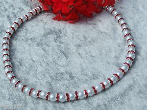 Collier-de-perles-blanc-en-verre-avec-ROUGE-CRYSTAL-Rondelle-mariage-Robe-soiree