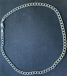 SOLID-925-Sterling-Silver-Genuine-Cuban-Flat-Link-Chain-Necklace-Italy-18-034-5-8m