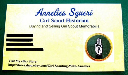 1947 ONLY WEAVING Girl Scout Crimped Silver Grn Intermediate Badge Multi=1 Ship