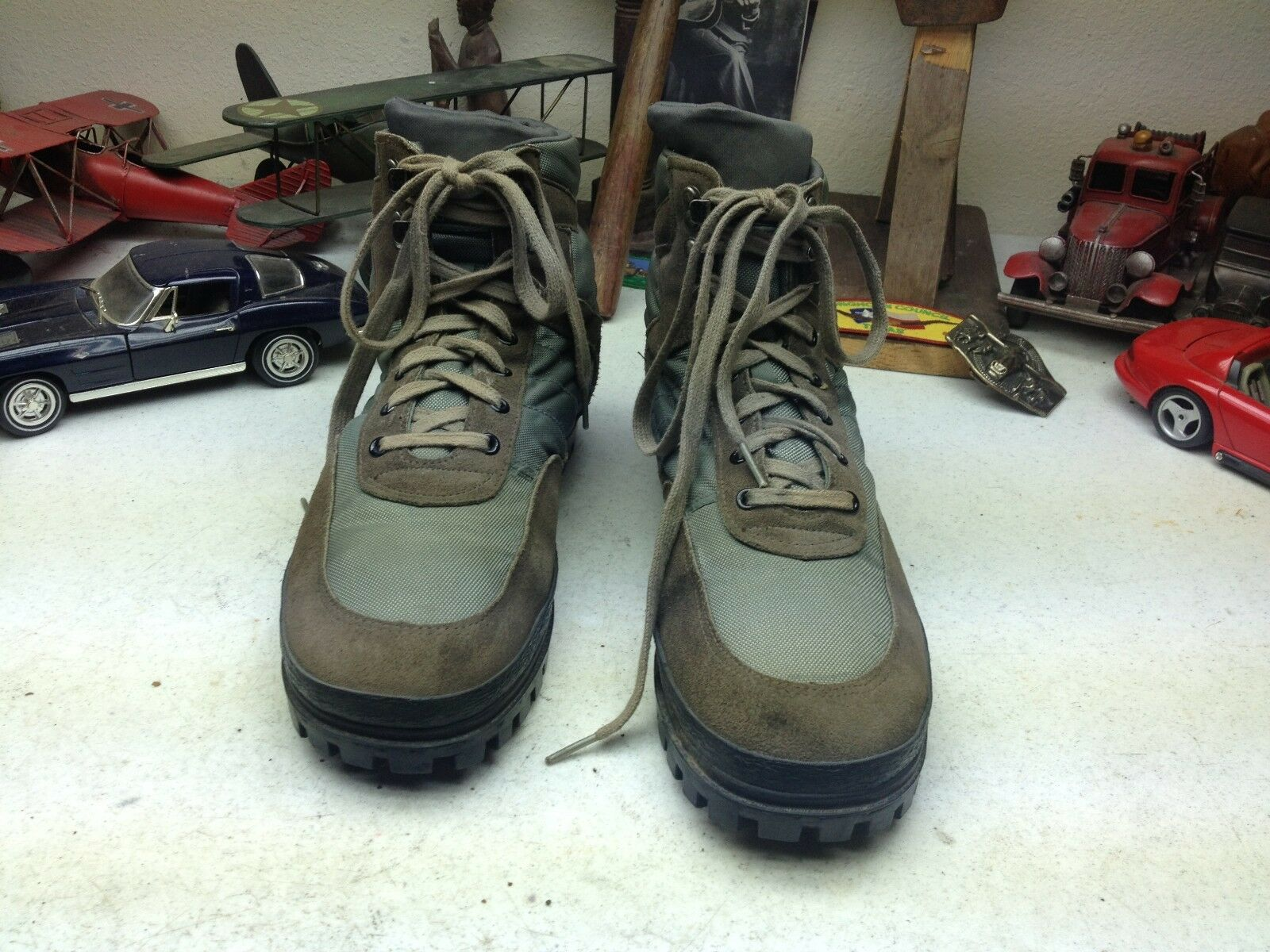 RUN AROUNDS RUSTIC BROWN LEATHER GREEN CANVAS TRAIL BOSS RANCH WORK BOOTS 12D