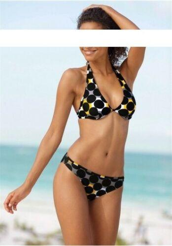 Homeboy STAFFA Bikini Set tg 36-42 Coppa-D nero-giallo nuotare STRETCH DONNA NUOVO