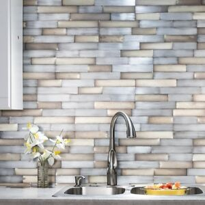 Details about Peel And Stick Tile Self Adhesive Metal Wall Bath Kitchen  Backsplash Silver Gold