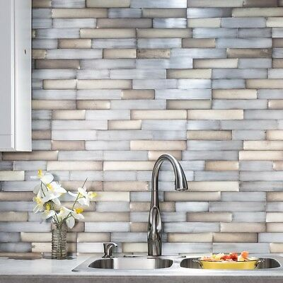 Peel And Stick Tile Self Adhesive Metal Wall Bath Kitchen Backsplash Silver  Gold | eBay
