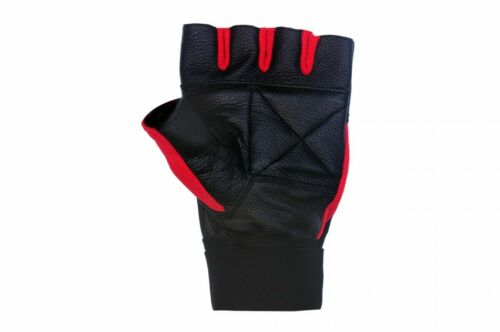 Weight Lifting Gloves Leather Fitness Training Gym Straps Workout Red G2R