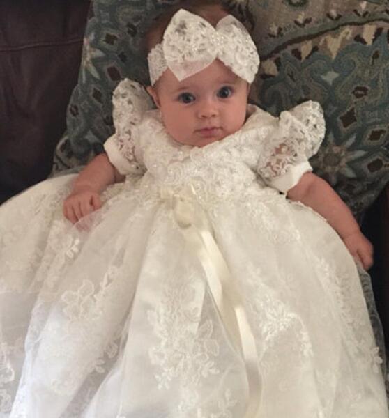 Free ship White Bowknot Baptism Dresses Infant Baby Girl Dress ...