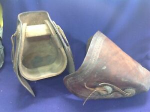 VINTAGE WESTERN WOODEN STIRRUPS w TOOLED LEATHER TAPADEROS ANCHOR NORTH & JUDD?