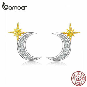 BAMOER-Stud-Moon-amp-star-Earrings-S925-Sterling-silver-With-CZ-For-Women-Jewelry