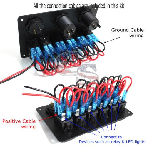 Car Marine Boat 6 Gang Waterproof Circuit Green LED Rocker Switch Panel Breaker