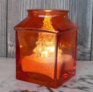 Windlicht Orange Mit Led Tanne Und Dekosand Weiss Tischdeko