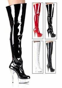 Heel 6'' Platform Women's Stiletto Pleaser Zu BootSide Delight Details Thigh Zipper 3010 LUSzpqMVGj
