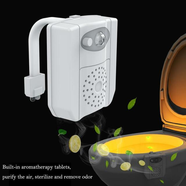 16 Colors Bathroom Toilet Seat Lamp Human Sensor UV Anti-virus Aroma Night Light