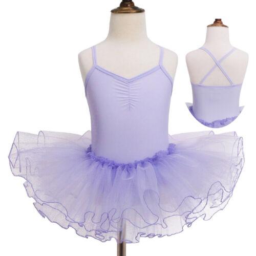 US Girl Kid Ballet Dance Leotard Dress Sequin Mesh Tutu Skirt Gymnastic Costumes
