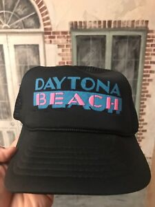 b3fc2f6ca3e ... france image is loading vintage daytona beach florida trucker hat black  mesh e979e 50e1d