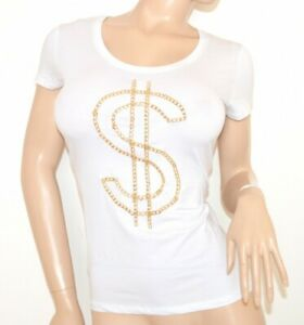 CHEMISE-BLANCHE-OR-femme-T-shirt-underjacket-coton-manches-courtes-Jersey-top-5N