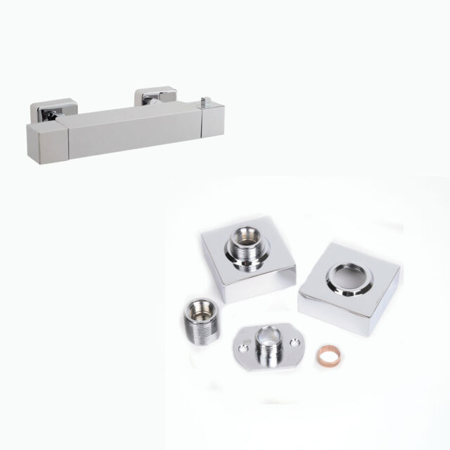 Square Bar Valve Easy Plumb Fixing Kit For Exposed Thermostatic Shower Valve Tap