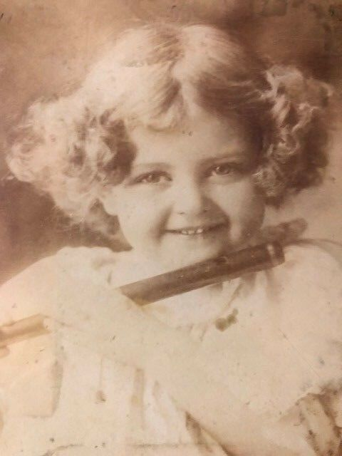Vintage Little Girl With Flute Antique Glass Plate Negative Photo